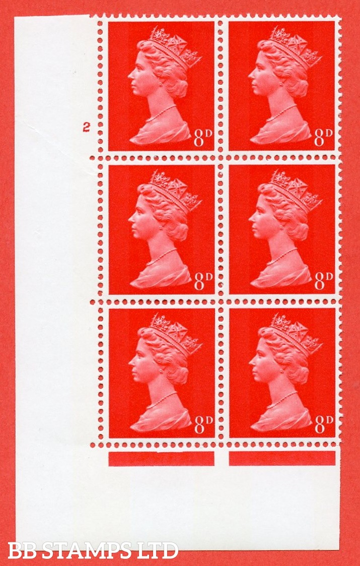 "SG. 738. U20. 8d bright vermilion  A superb UNMOUNTED MINT "" cylinder 2 no dot "" control block of 6 with perf type A E/I. PVA gum. Head A."