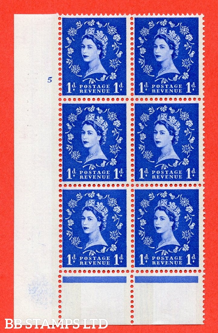 """SG.611. S21. 1d Ultramarine. A superb UNMOUNTED MINT """" cylinder 5 no dot """" control block of 6 with perf type B (I/P). Blue Phosphor Cream paper."""