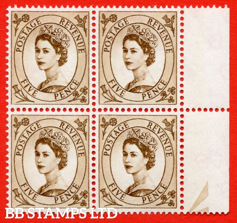 SG.616c. S103b. 5d Deep Brown. A superb UNMOUNTED MINT example. Right marginal positional block of 4. From cylinder 1. violet Phosphor 9½mm Band. With a spot on daffodil ERROR. R.10/12 variety.