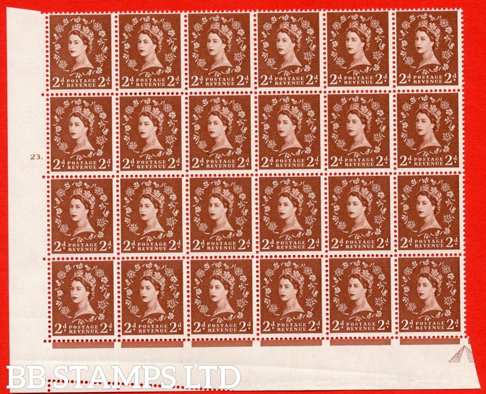 SG. 573. S40d. 2d light red brown . A superb UNMOUNTED MINT example. Bolck of 24 from cylinder 23 dot. Cream paper. With a Tadpole retouch ERROR. R.17/6