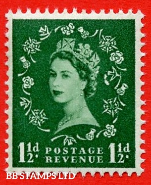 SG. 542f. S26i. 1½d. Green. A superb UNMOUNTED MINT example From cylinder 15 dot . Variety Butterfly flaw (Cyl. 15 Dot,R.19/1)