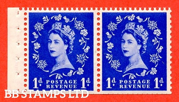 SG. 516. SB22. 1d Ultramarine. A fine UNMOUNTED MINT. Complete booklet pane of 2 with perf type E. Trimmed perfs.