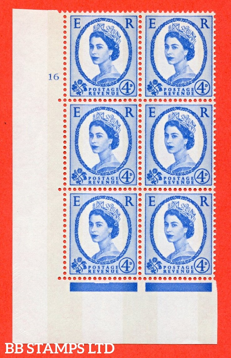 "SG.616a. S92. 4d Deep Ultramarine. A fine mounted mint "" cylinder 16 no dot "" control block of 6 with perf type A (E/I). violet Phosphor 9½mm Band."