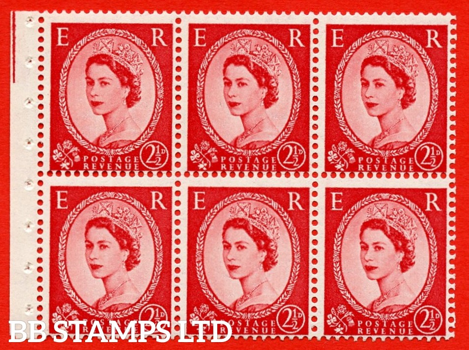 SG. 519 b. SB80. 2½d carmine - red. A fine UNMOUNTED MINT. Complete booklet pane of 6. Perf type (Ieb) with Good PERFS.