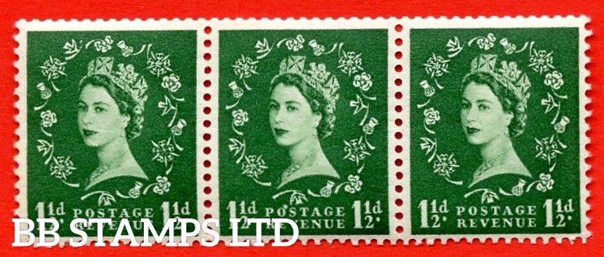 "SG. 542a. S26Q. 1½d. Green. A superb MOUNTED MINT example. coil strip of 3. WATERMARK sideways left. With a flaw over ""O"" of ""POSTAGE"". ERROR. Roll 2 variety."