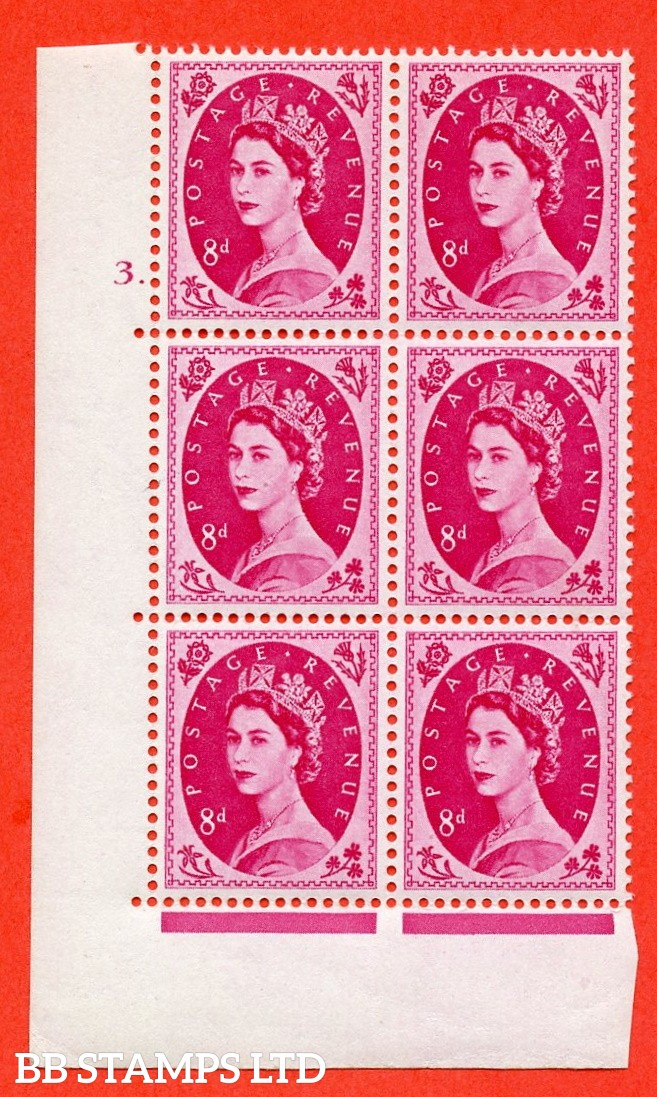 "SG S121. 8d Magenta  A superb UNMOUNTED MINT "" cylinder 3 dot "" control block of 6 with perf type A (E/I)."