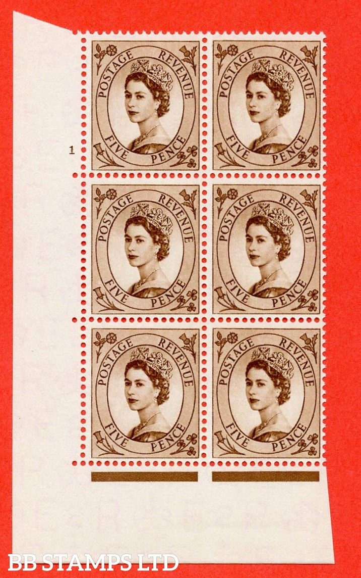 "SG. 547. S100. 5d. Brown. A superb UNMOUNTED MINT "" cylinder 1 no dot "" control block of 6 with perf type A E/I."