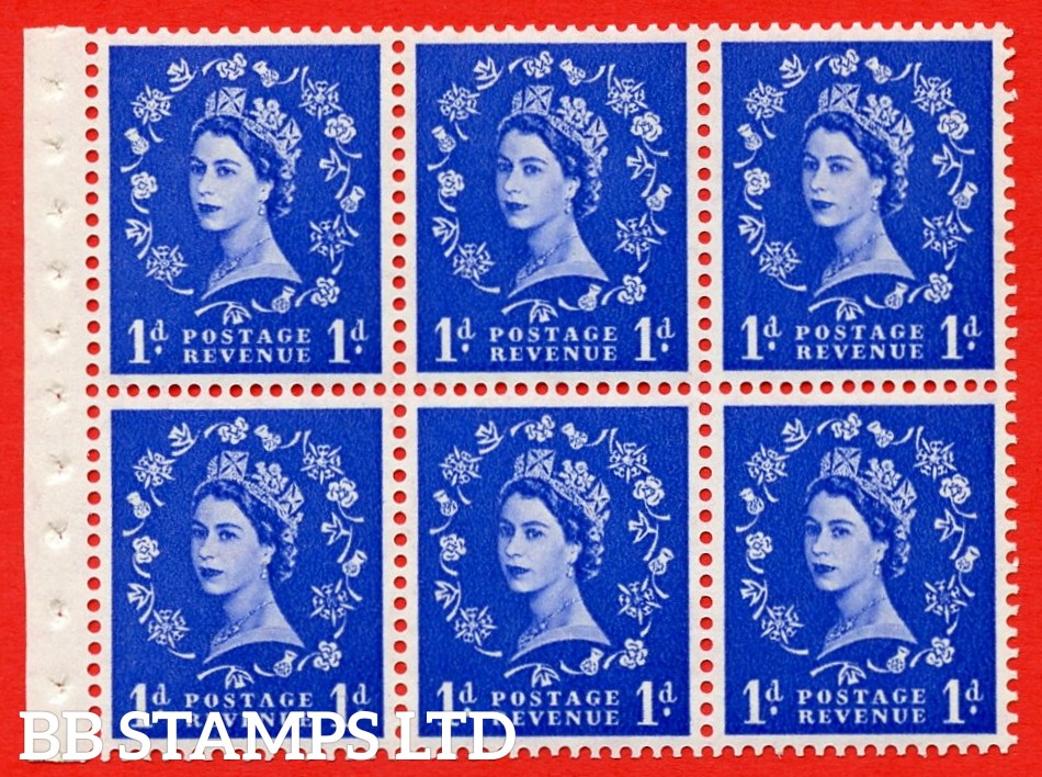 SG. 516L. SB20. 1d ultramarine. A fine UNMOUNTED MINT example. Complete Booklet pane of 6. Perf Type IS. Good Perfs.