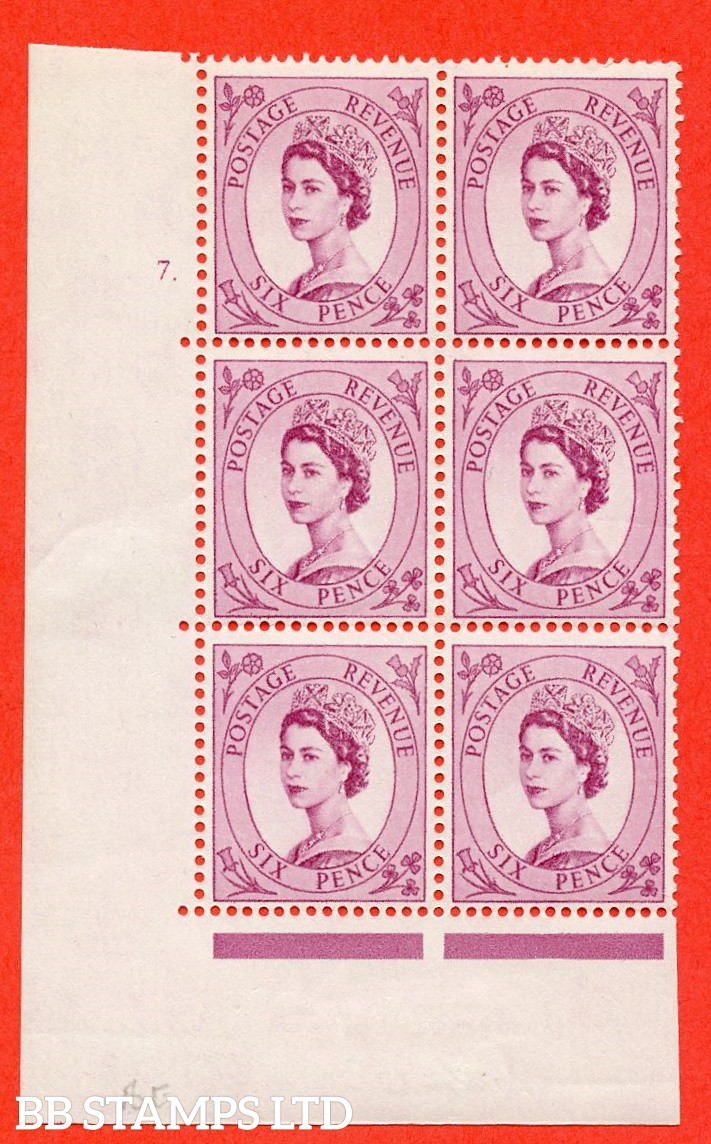 "SG. 579 S107. 6d Deep claret   A fine mounted mint "" cylinder 7 no dot "" control block of 6 with perf type A (E/I)."