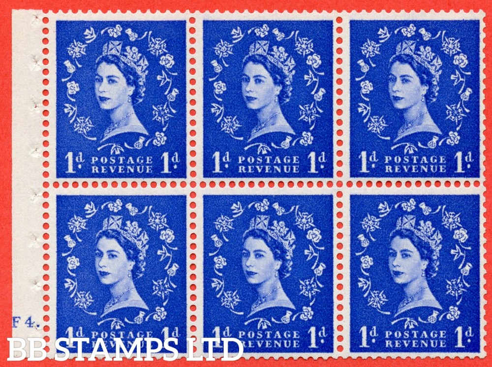 "SG. 541. SB26b. 1d ultramarine. A fine UNMOUNTED MINT cylinder "" F4 dot "" booklet pane of 6. Perf type (Ieb) with GOOD PERFS. Smooth edge. Listed variety "" Dot on Serif ""."