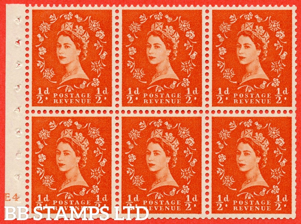 "SG. 570. SB7. ½d orange - red. A fine mounted mint cylinder "" E4 smudge removed - no dot "" booklet pane of 6. Perf type (I) with TRIMMED PERFS. Smooth edge."