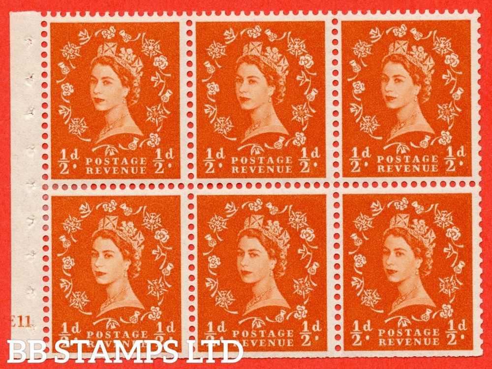 "SG. 570. SB7. ½d orange - red. A fine UNMOUNTED MINT cylinder "" E11 no dot "" booklet pane of 6. Perf type (I) with TRIMMED PERFS. Smooth edge."