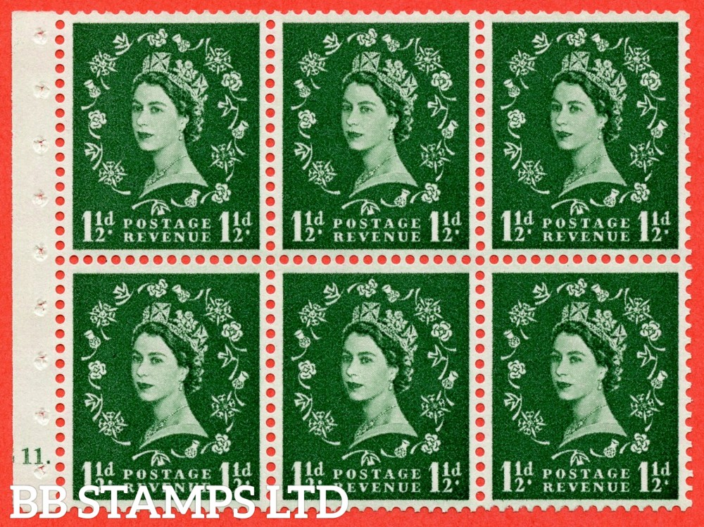 "SG. 572. SB65. 1½d green. A fine UNMOUNTED MINT cylinder "" G11 no dot "" booklet pane of 6. Perf type (Ieb) with GOOD PERFS. Smooth edge. Cream paper."