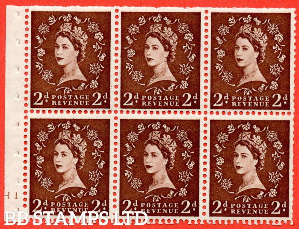"SG. 518. SB76. 2d red - brown. A fine UNMOUNTED MINT cylinder "" H1 no dot "" booklet pane of 6. Perf type (I) with TRIMMED PERFS. Smooth edge."