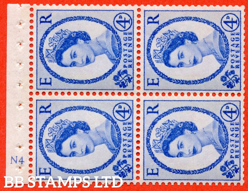 "SG. 616a. SB110a. 4d Deep Ultramarine. A fine UNMOUNTED MINT cylinder "" N4 ( Wmk right ) no dot "" booklet pane of 4. Perf type (I) with GOOD PERFS. Smooth edge. White Paper."