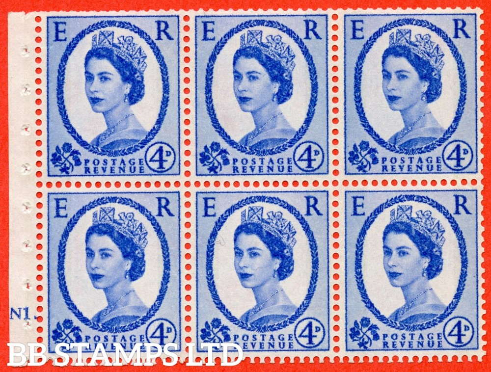 "SG. 616. SB107. 4d Ultramarine. A fine UNMOUNTED MINT cylinder "" N1 T no dot "" booklet pane of 6. Perf type (I) with TRIMMED PERFS. Smooth edge. White Paper."