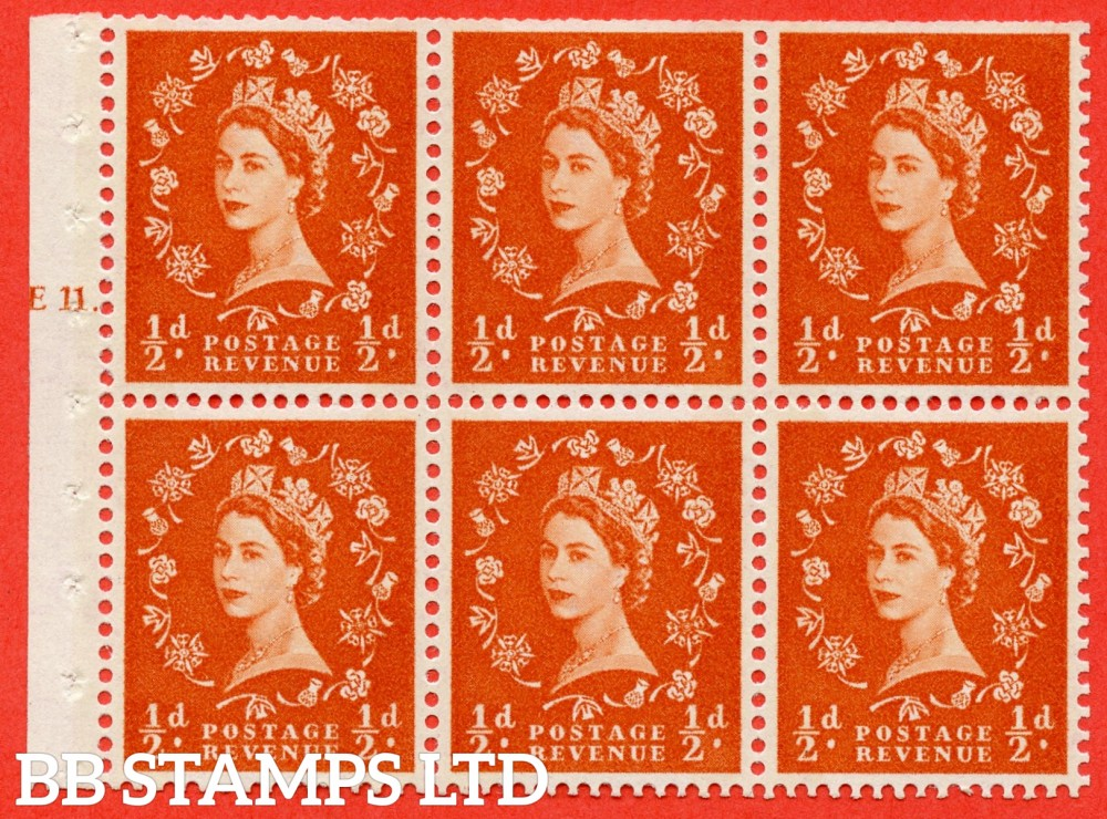 "SG. 610. SB15. ½d Orange Red. A fine UNMOUNTED MINT cylinder "" E11 T dot "" booklet pane of 6. Perf type (Ieb) with TRIMMED PERFS. Smooth edge."