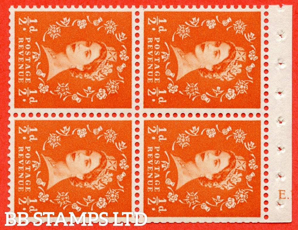 "SG. 570. SB11. ½d Orange Red. A fine UNMOUNTED MINT cylinder "" E.13  no dot "" booklet pane of 4. Perf type (I) with TRIMMED PERFS. Smooth edge. White paper."