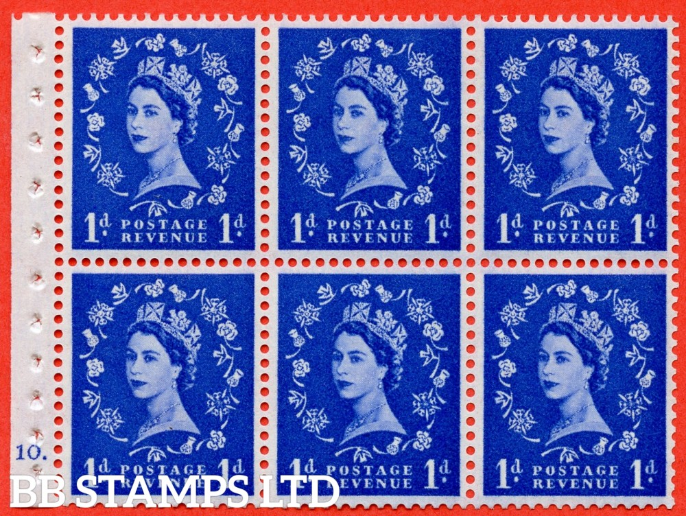 "SG. 571. SB30. 1d Ultramarine. A fine UNMOUNTED MINT cylinder "" F10  dot "" booklet pane of 6. Perf type (Iet) with GOOD PERFS. Smooth edge Cream paper."