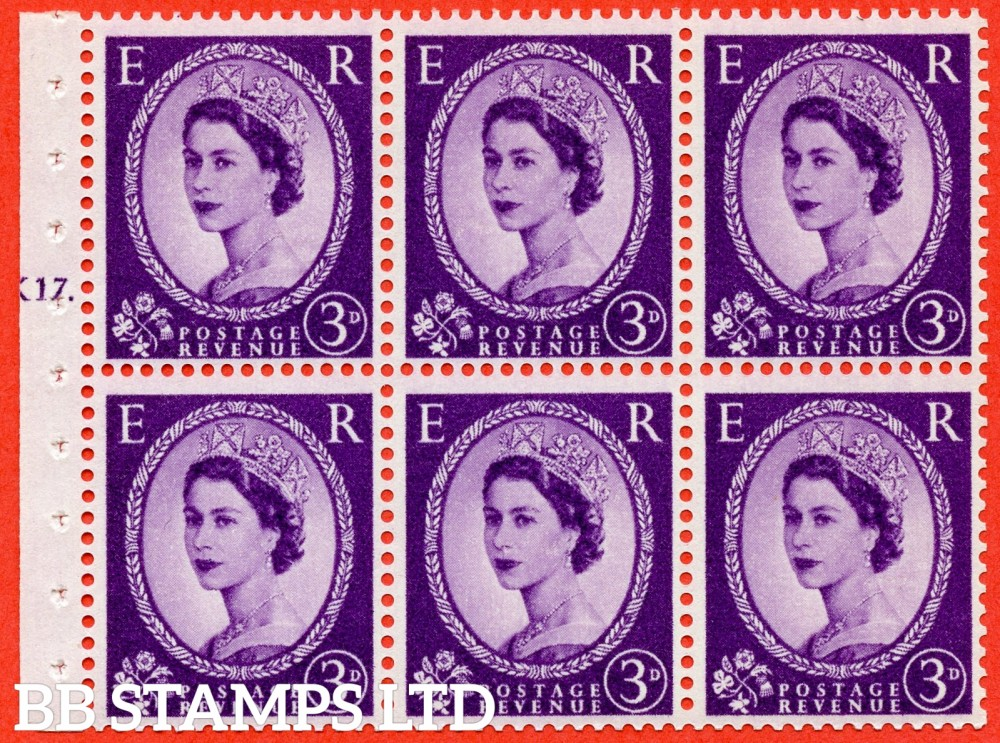 "SG. 575. SB92. 3d Deep Lilac. A fine UNMOUNTED MINT cylinder "" K17 T dot "" booklet pane of 6. Perf type (Ieb) with GOOD PERFS. Smooth edge. Cream paper."