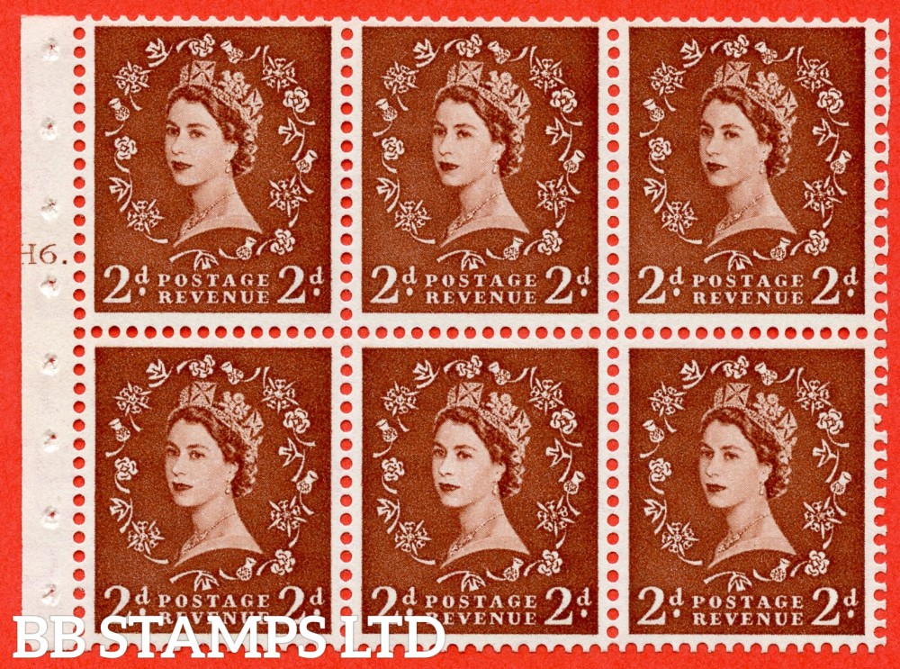 "SG. 543b. SB78. 2d Light red-brown. A fine UNMOUNTED MINTcylinder "" H6 T dot "" booklet pane of 6. Perf type (Ieb) with GOOD PERFS. Smooth edge."