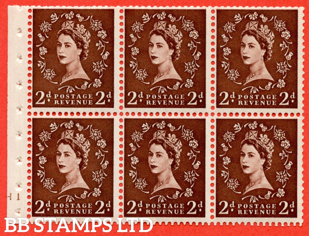 "SG. 543. SB77. 2d red - brown. A fine UNMOUNTED MINT cylinder "" H10 no dot "" booklet pane of 6. Perf type (I) with TRIMMED PERFS. Smooth edge."