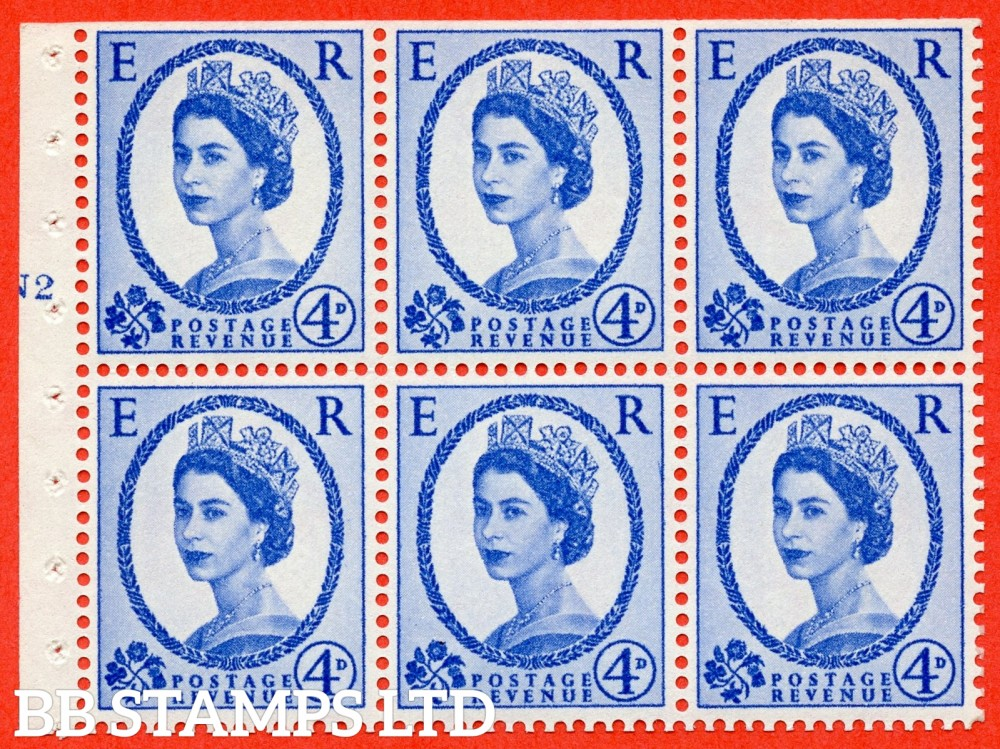 "SG. 576a. SB105f. 4d Deep Ultramarine. A fine UNMOUNTED MINT cylinder "" N2 T no dot "" booklet pane of 6. Perf type (I) with TRIMMED PERFS. Smooth edge. White paper. With listed variety "" Y Flaw "" Row 2/2."