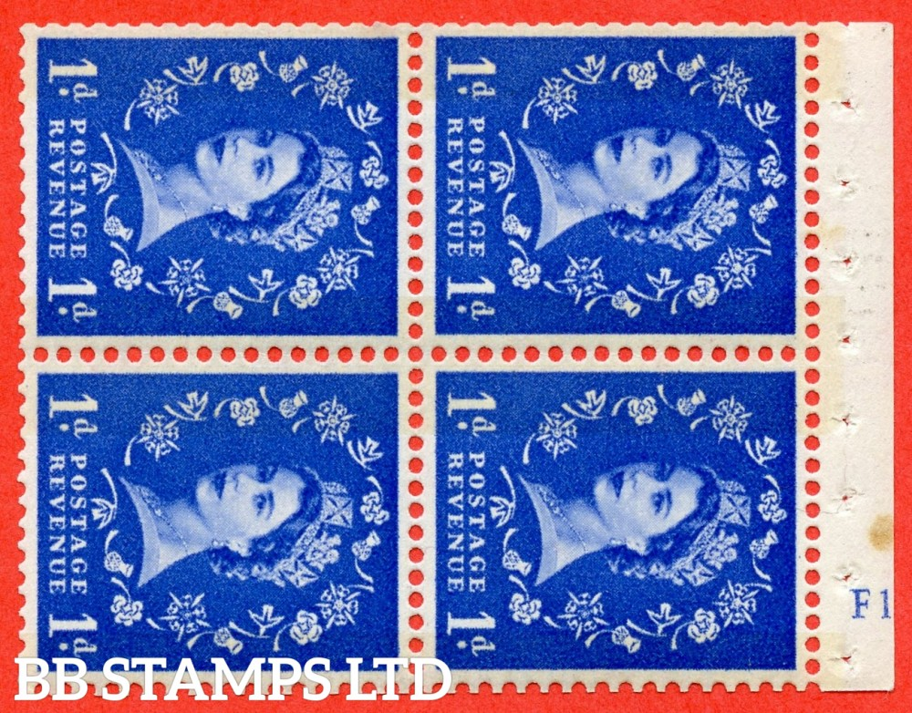 "SG. 611. SB43. 1d Ultramarine. A fine UNMOUNTED MINT cylinder "" F12 no dot "" booklet pane of 4. Perf type (I) with GOOD PERFS. Smooth edge. Cream Paper."
