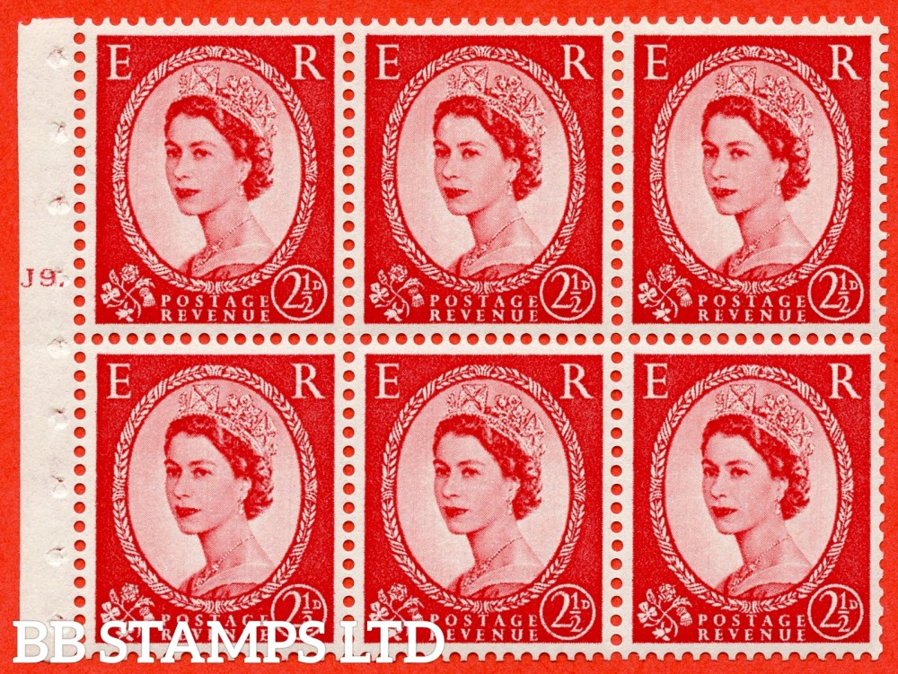 "SG. 544b. SB81. 2½d carmine - red. A fine UNMOUNTED MINT "" J9 T dot "" booklet pane of 6. Perf type (Iet) with GOOD PERFS. Smooth edge."