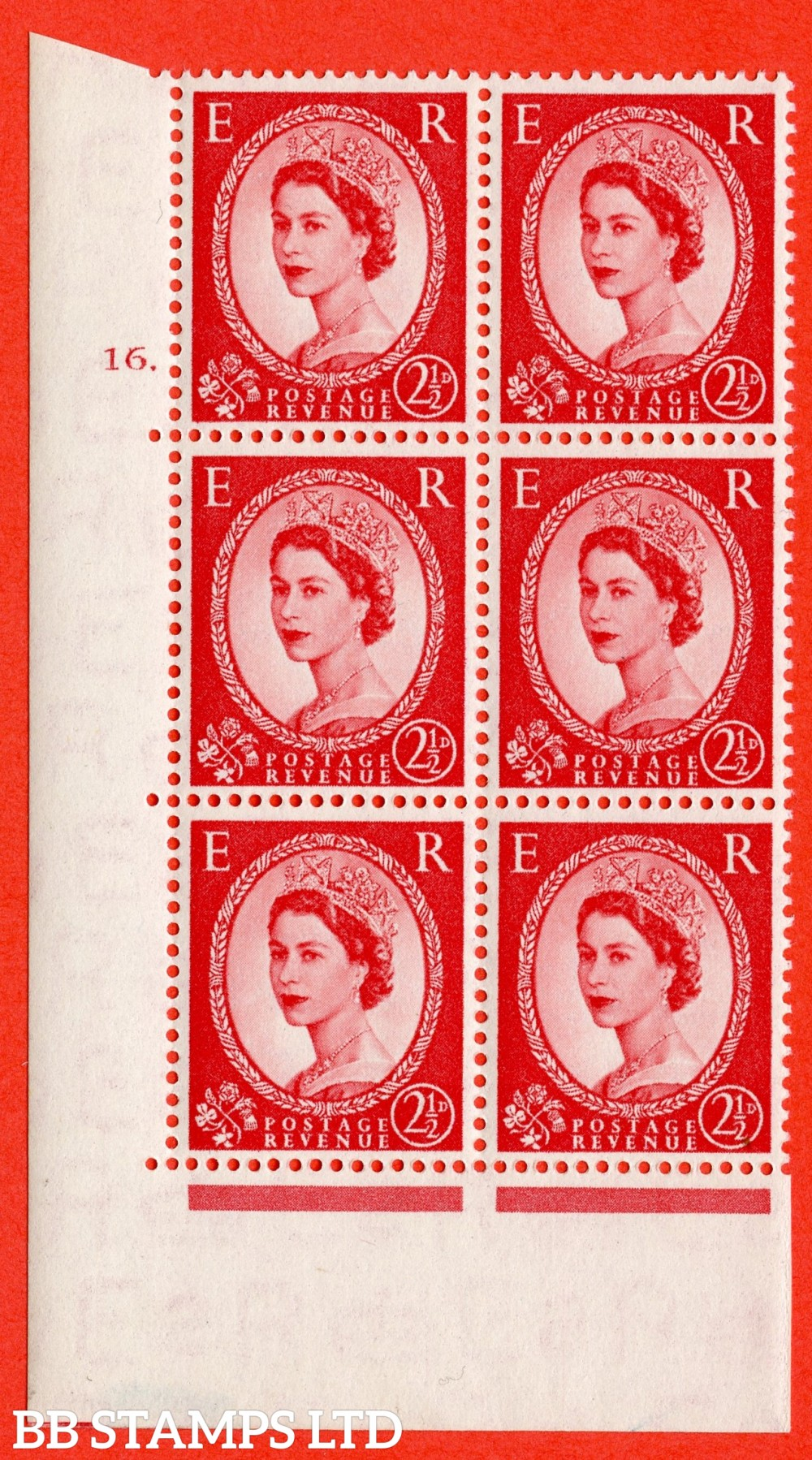 "SG. 519. S50. 2½d Carmine Red. A superb UNMOUNTED MINT "" cylinder 16 dot "" control block of 6 with perf type A E/I."