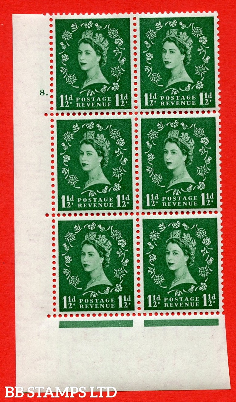 """SG. 517. S25. 1½d Green. A superb UNMOUNTED MINT """" cylinder 8 dot """" control block of 6 with perf type A E/I."""