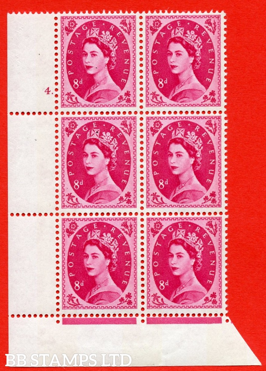 "SG.617b. S123. 8d Magenta. A superb UNMOUNTED MINT "" cylinder 4 dot "" control block of 6 with perf type FL (P/E). violet Phosphor 9½mm Band."