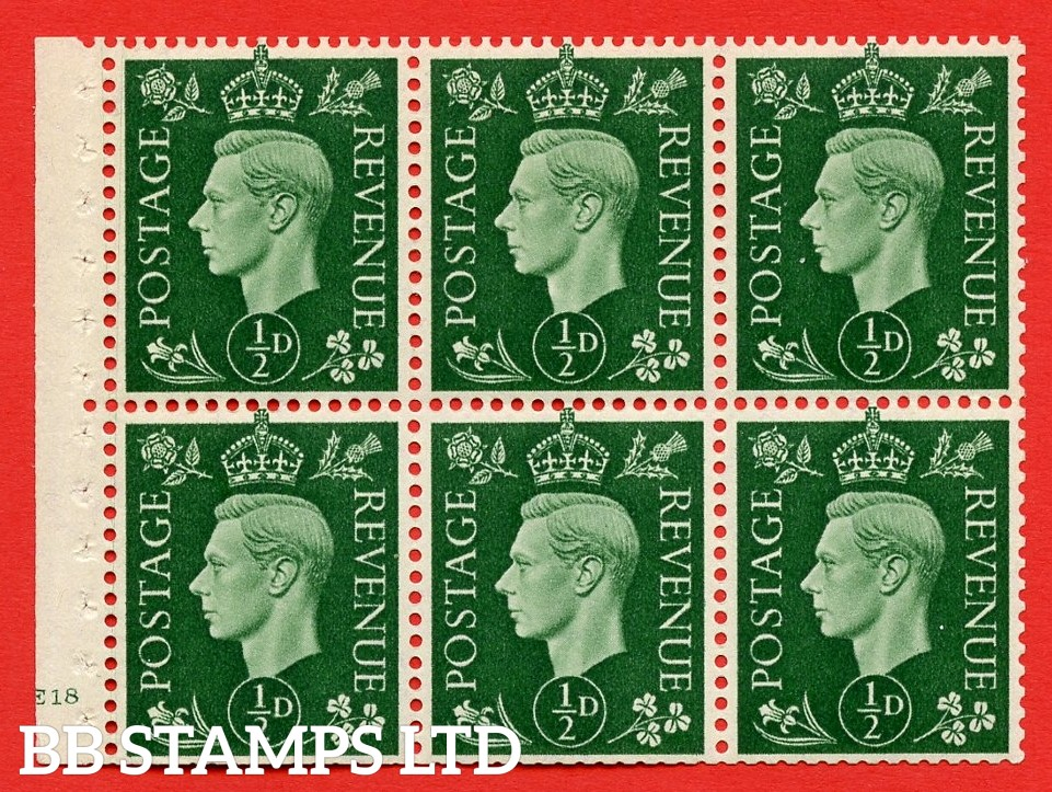 SG. QB1 Perf Type B4(E). ½d Green x 6 Pane, MOUNTED MINT Watermark Upright. Cylinder Pane E18 no dot ( SG. 462b ) Perf Type B4(E). Trimmed Perfs.