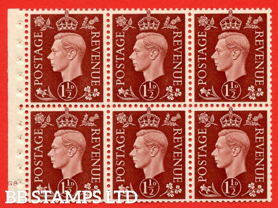 QB21 Perf Type B4(E) 1½d Red-Brown x 6 Pane, MOUNTED MINT Watermark Upright. Cylinder Pane G8 no dot ( SG. 464c ) Perf type B4(E). Good Perfs.