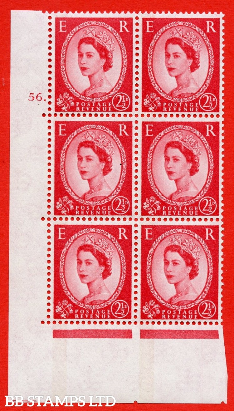 "SG.614a. S65. 2½d Carmine red. LB Photo. A superb UNMOUNTED MINT "" cylinder 56 dot "" control block of 6 with perf type A (E/I). Blue Phosphor White paper"