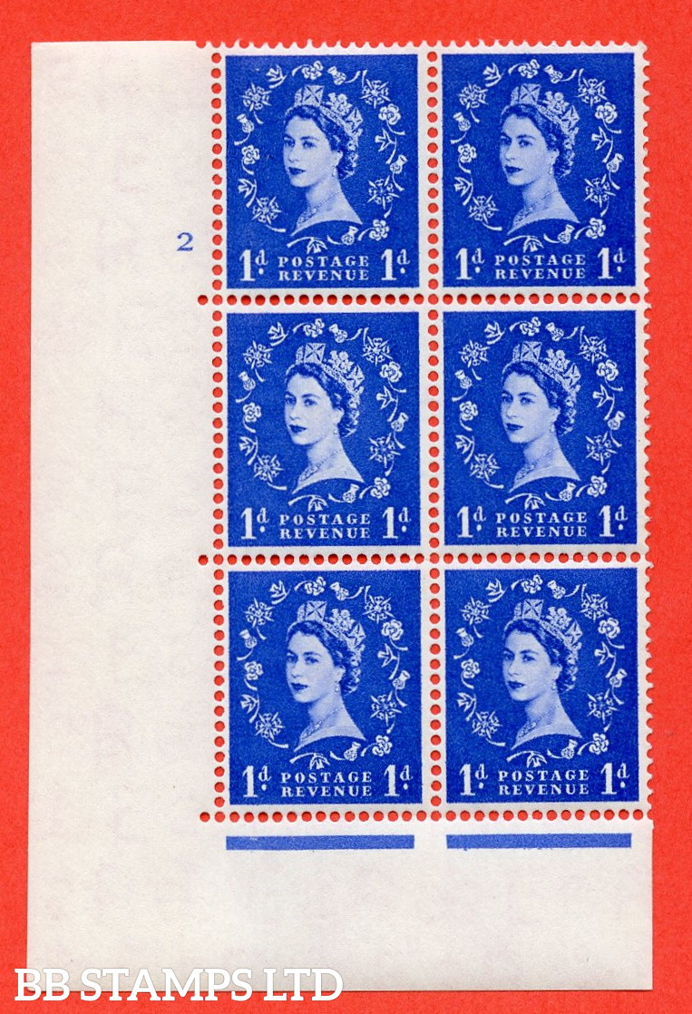 """SG. 541. S14d. 1d. Ultramarine. A fine lightly mounted mint """" cylinder 2 no dot """" control block of 6 with perf type A E/I with """" Shamrock Flaw """" Row 18/2."""