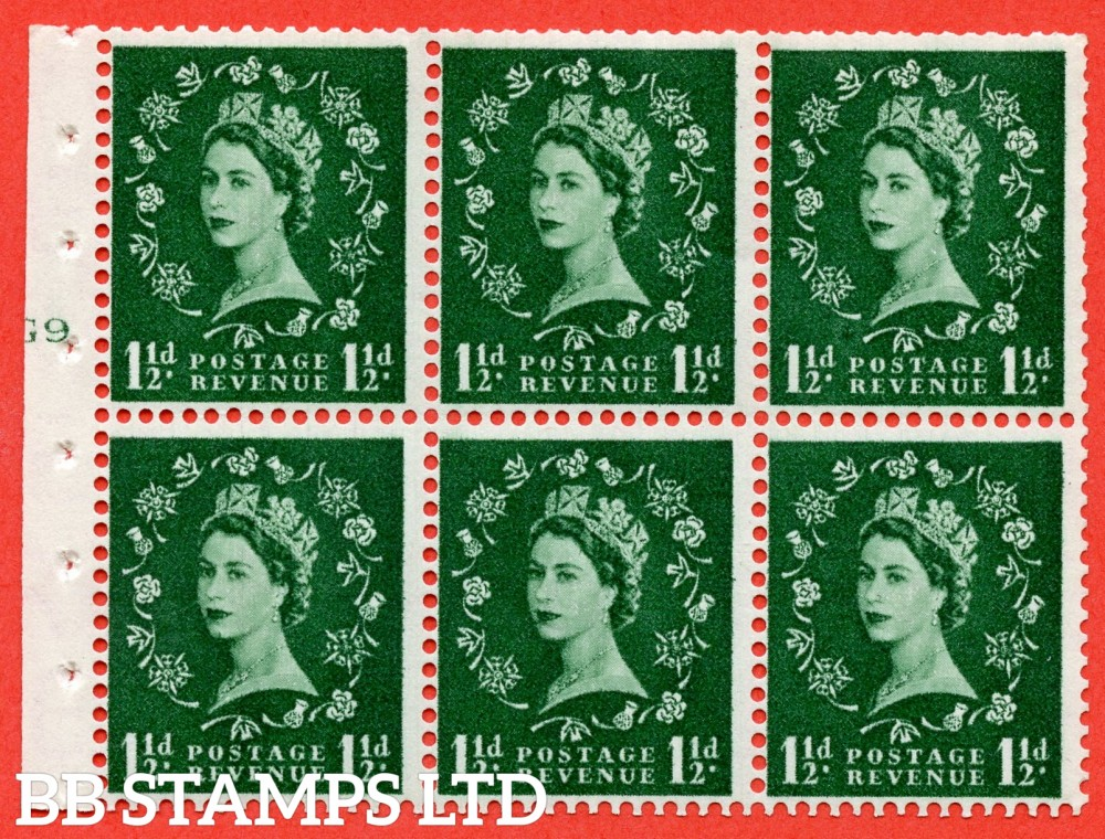 "SG. 542. SB62. 1½d green. A fine UNMOUNTED MINT cylinder "" G9 T no dot "" booklet pane of 6. Perf type (I) with TRIMMED PERFS. Smooth edge."