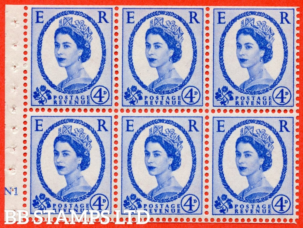 "SG. 576a. SB105. 4d Deep Ultramarine. A fine UNMOUNTD MINT cylinder "" N1 no dot "" booklet pane of 6. Perf type (I) with TRIMMED PERFS. Smooth edge. White paper."