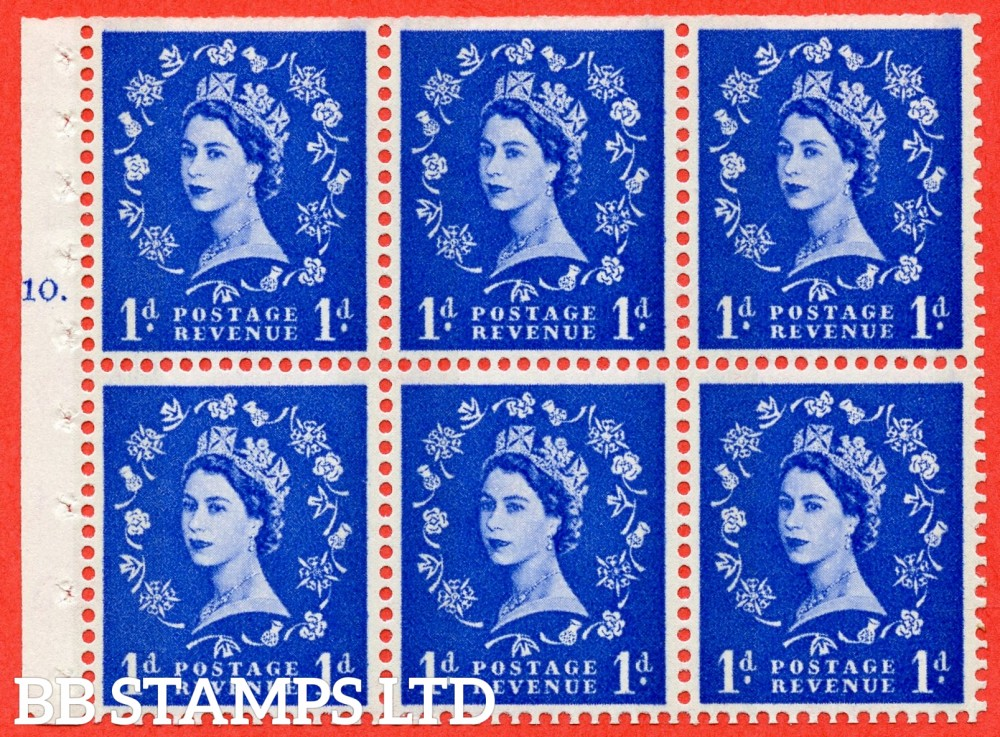 "SG. 611. SB41. 1d Ultramarine. A fine UNMOUNTED MINT cylinder "" F10 T dot "" booklet pane of 6. Perf type (Ieb) with TRIMMED PERFS. Smooth edge. Cream Paper."