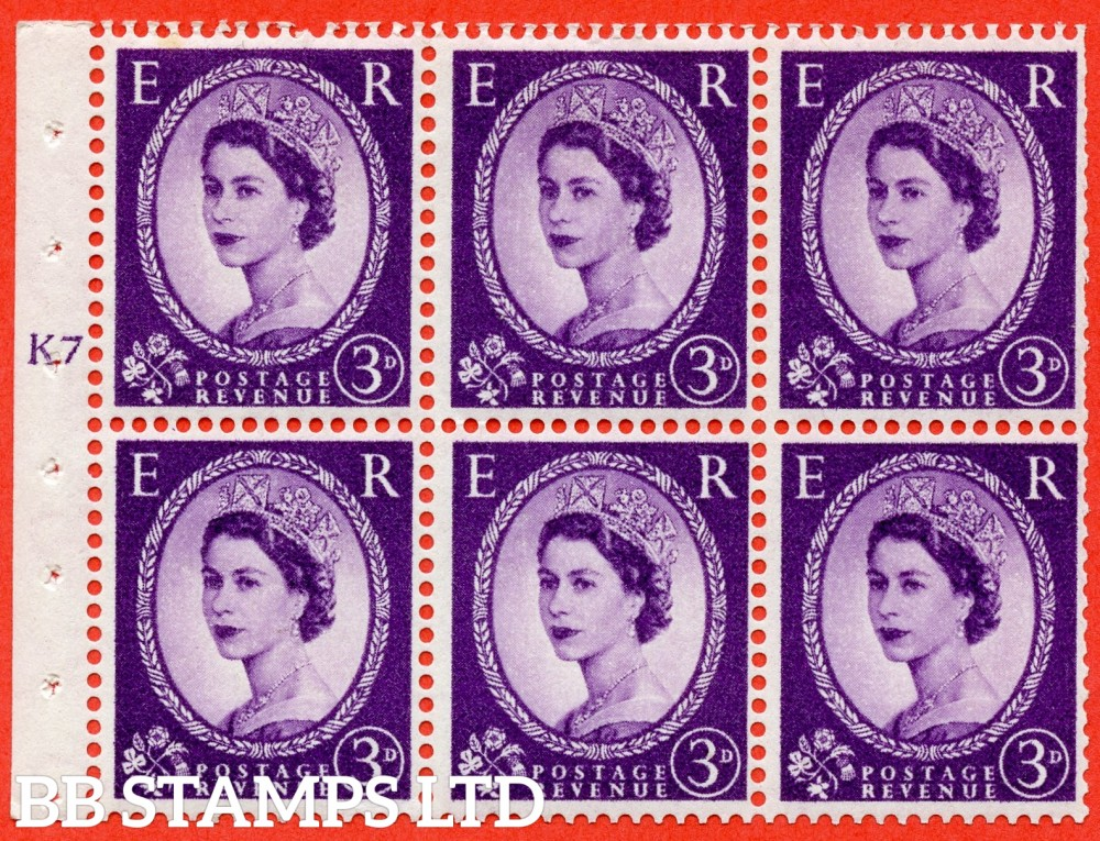 "SG. 545. SB90. 3d Deep Lilac. A fine mounted mint cylinder "" K7 T no dot "" booklet pane of 6. Perf type (I) with TRIMMED PERFS. Smooth edge."