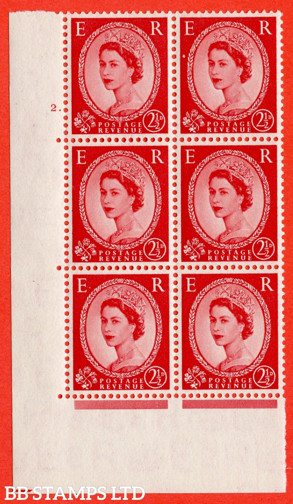 "SG. 519. S50. 2½d Carmine Red. A superb UNMOUNTED MINT "" cylinder 2 dot "" control block of 6 with perf type A E/I."