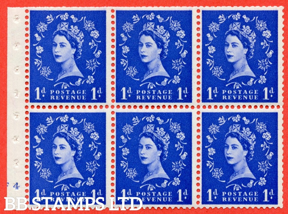 "SG. 516. SB20. 1d ultramarine. A fine UNMOUNTED MINT cylinder "" F4 no dot "" booklet pane of 6. Perf type (I) with TRIMMED PERFS. Smooth edge."