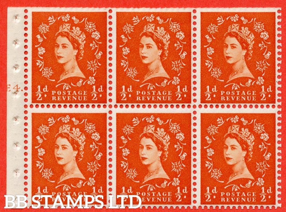 "SG. 540. SB4. ½d orange - red. A fine UNMOUNTED MINT cylinder "" E4 T dot "" booklet pane of 6. Perf type (Ieb) with TRIMMED PERFS. Smooth edge."