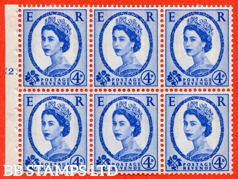 "SG. 616a. SB111. 4d Deep Ultramarine. A fine mounted mint cylinder "" N2 T dot "" booklet pane of 6. Perf type (Iet) with TRIMMED PERFS. Smooth edge."