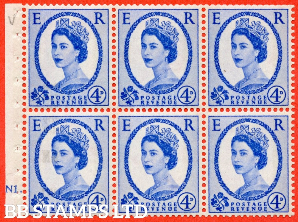 "SG. 616a. SB109. 4d Deep Ultramarine. A fine UNMOUNTED MINT cylinder "" N1 dot "" booklet pane of 6. Perf type (Ieb) with GOOD PERFS. Smooth edge. White Paper."