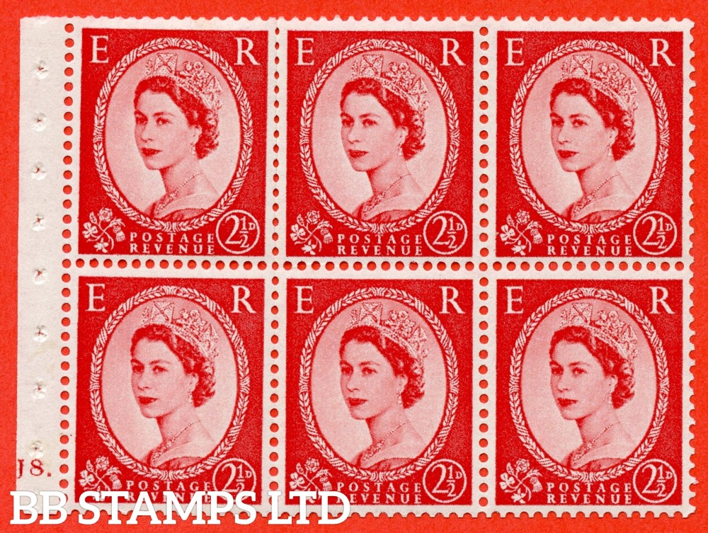 "SG. 544b. SB81. 2½d carmine - red. A fine mounted mint "" J8 dot "" booklet pane of 6. Perf type (Ieb) with TRIMMED PERFS. Smooth edge."