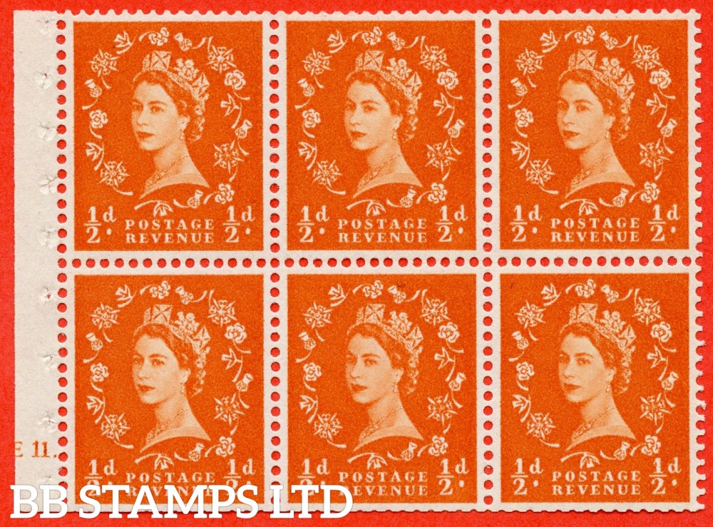 "SG. 570. SB8. ½d orange - red. A fine UNMOUNTED MINT cylinder "" E11 dot "" booklet pane of 6. Perf type (Ieb) with TRIMMED PERFS. Smooth edge White paper."