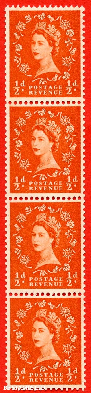 SG.610. S10g. ½d Orange red. A superb UNMOUNTED MINT example. Coil strip of 4. Blue phosphor cream paper. With a shamrock flaw ERROR. Roll 11 variety.