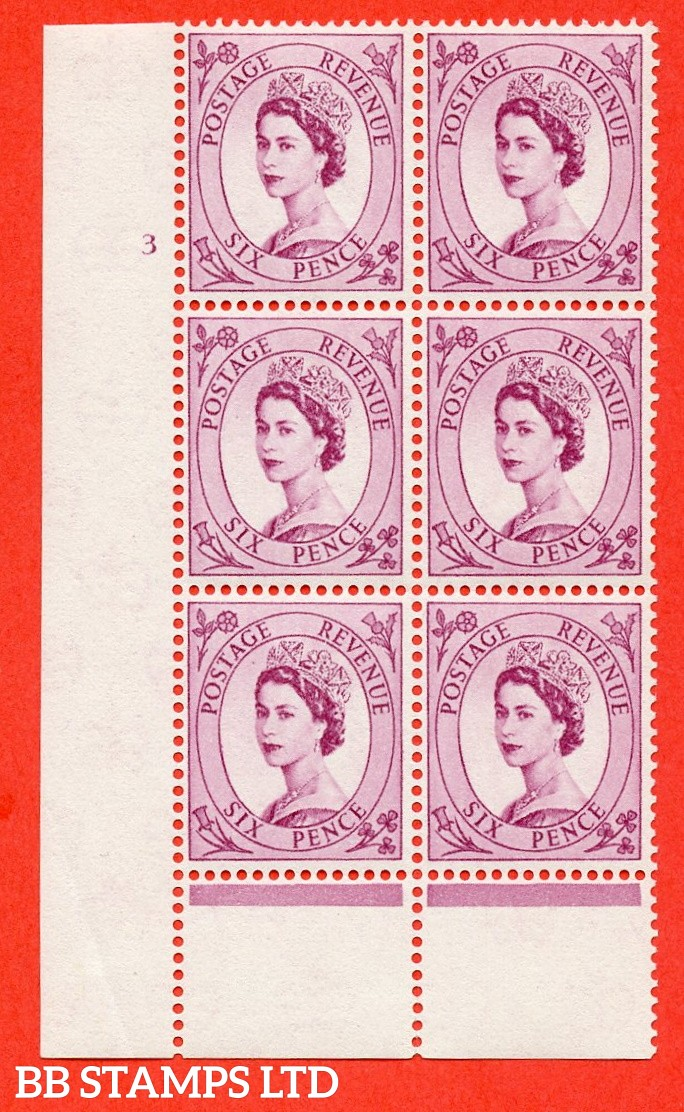 "SG. 579 S107. 6d Deep claret  A superb UNMOUNTED MINT "" cylinder 3 no dot "" control block of 6 with perf type B (I/P)."