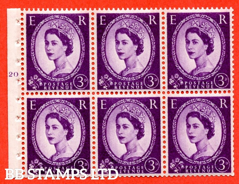 "SG. 615. SB100. 3d Deep Lilac. A fine UNMOUNTED MINT cylinder "" K20 T no dot "" booklet pane of 6. Perf type (I) with GOOD PERFS. Smooth edge. White Paper."